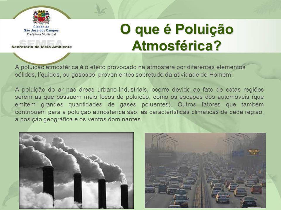 O que é Poluição Atmosférica? A poluição atmosférica é o efeito provocado na atmosfera por diferentes elementos sólidos, líquidos, ou gasosos, proveni
