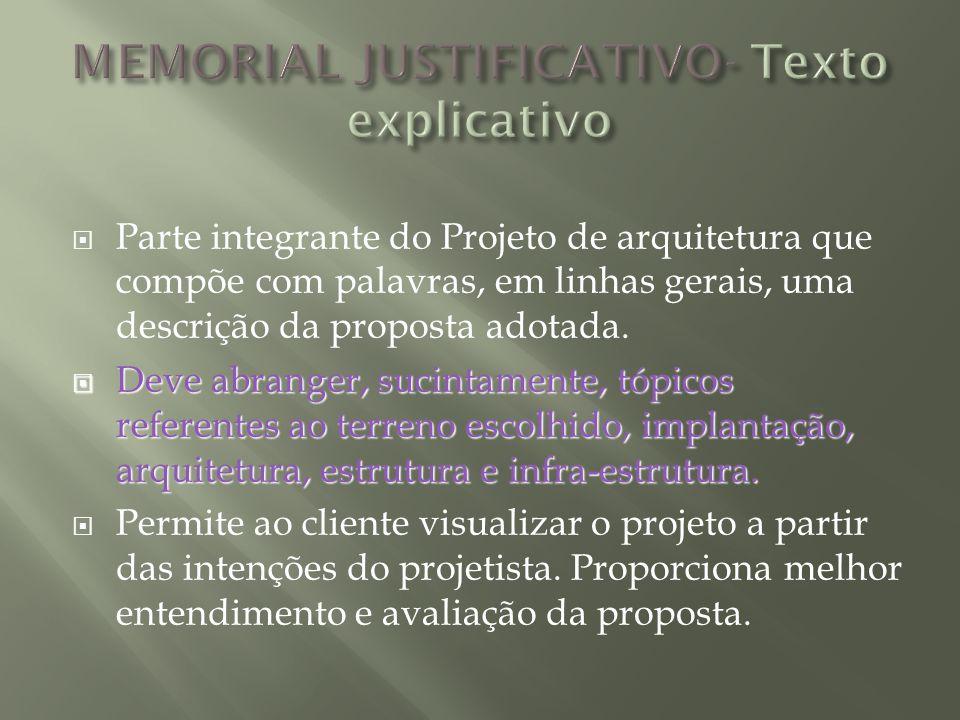 Parte integrante do Projeto de arquitetura que compõe com palavras, em linhas gerais, uma descrição da proposta adotada. Deve abranger, sucintamente,
