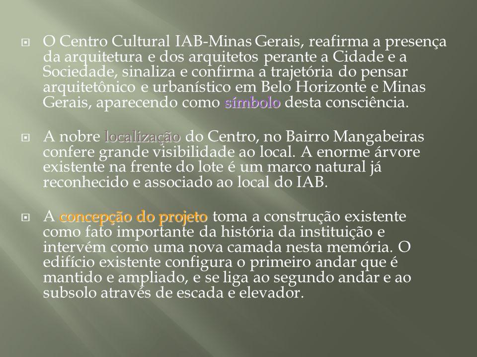 símbolo O Centro Cultural IAB-Minas Gerais, reafirma a presença da arquitetura e dos arquitetos perante a Cidade e a Sociedade, sinaliza e confirma a