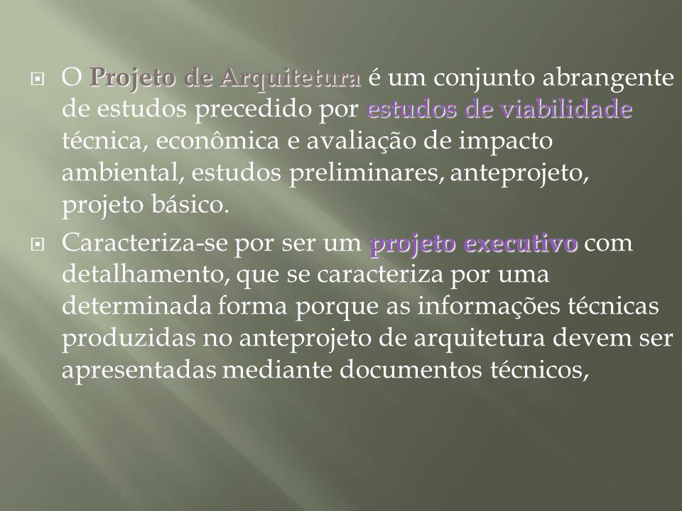 Projeto de Arquitetura estudos de viabilidade O Projeto de Arquitetura é um conjunto abrangente de estudos precedido por estudos de viabilidade técnic