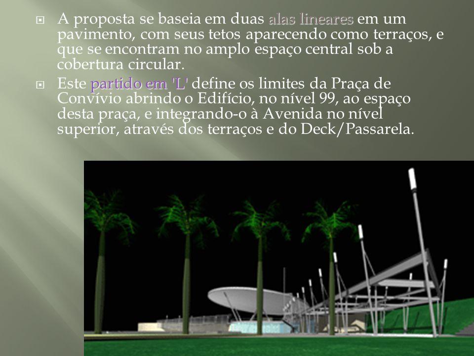 alas lineares A proposta se baseia em duas alas lineares em um pavimento, com seus tetos aparecendo como terraços, e que se encontram no amplo espaço