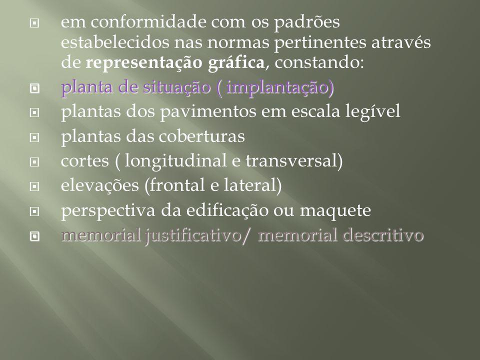 em conformidade com os padrões estabelecidos nas normas pertinentes através de representação gráfica, constando: planta de situação ( implantação) pla