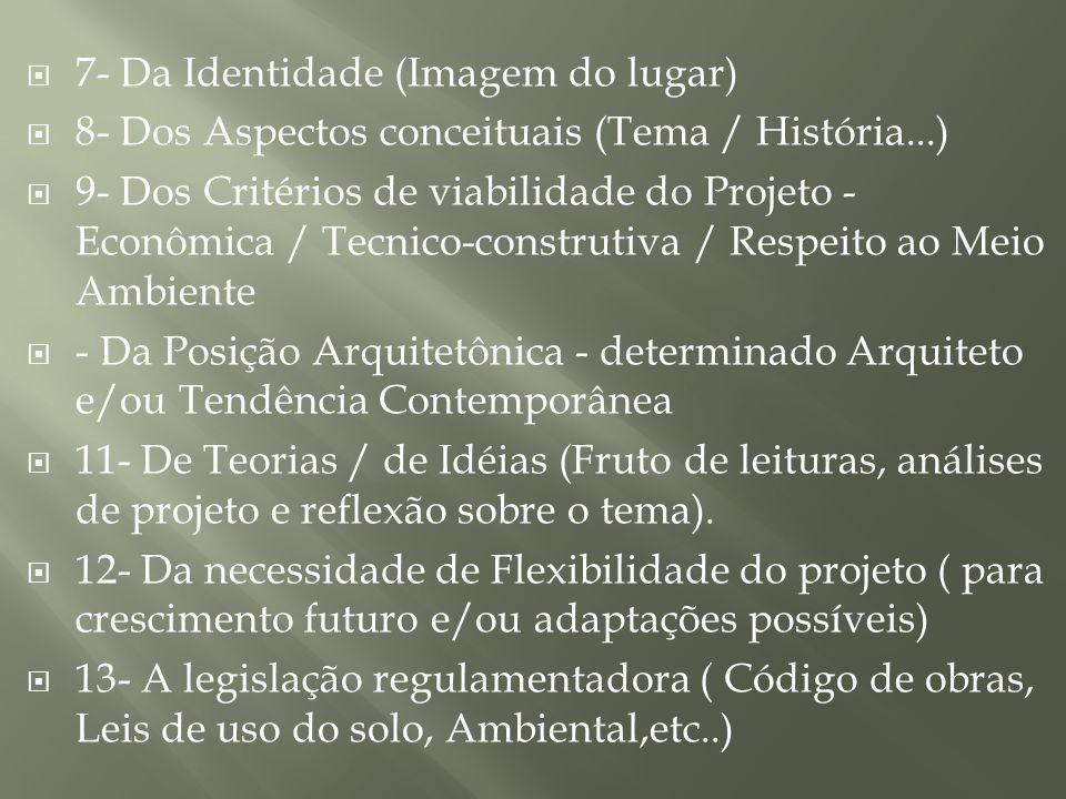 7- Da Identidade (Imagem do lugar) 8- Dos Aspectos conceituais (Tema / História...) 9- Dos Critérios de viabilidade do Projeto - Econômica / Tecnico-c
