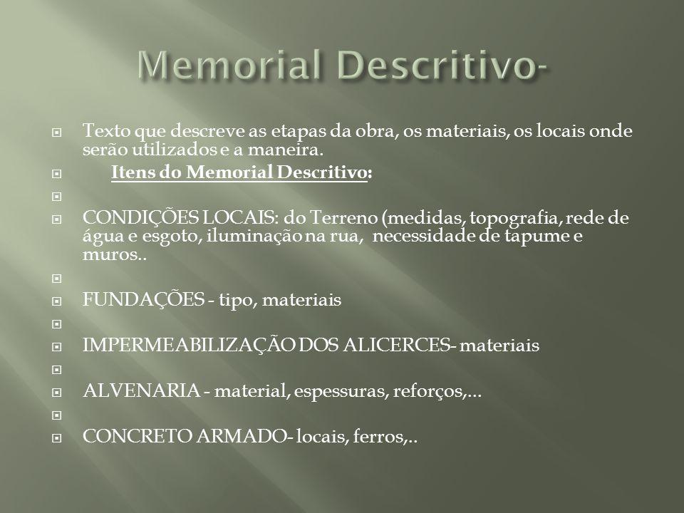 Texto que descreve as etapas da obra, os materiais, os locais onde serão utilizados e a maneira. Itens do Memorial Descritivo: CONDIÇÕES LOCAIS: do Te