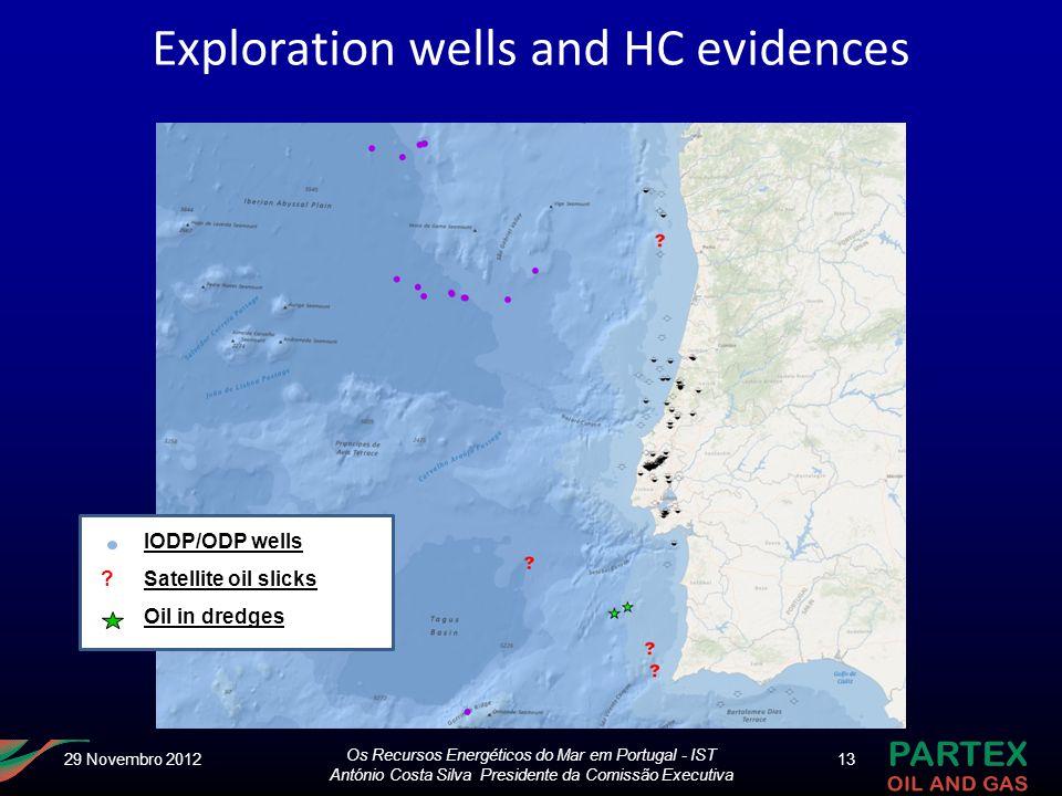 Os Recursos Energéticos do Mar em Portugal - IST António Costa Silva Presidente da Comissão Executiva 13 ? IODP/ODP wells Satellite oil slicks Oil in