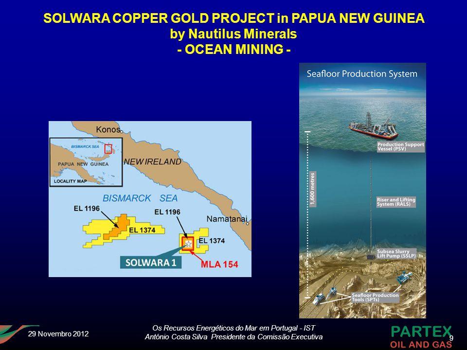 9 Os Recursos Energéticos do Mar em Portugal - IST António Costa Silva Presidente da Comissão Executiva 29 Novembro 2012 SOLWARA COPPER GOLD PROJECT i