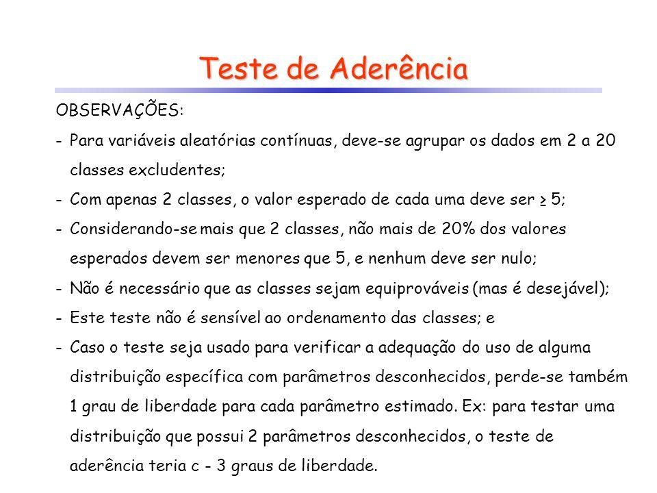Teste de Aderência OBSERVAÇÕES: -Para variáveis aleatórias contínuas, deve-se agrupar os dados em 2 a 20 classes excludentes; -Com apenas 2 classes, o