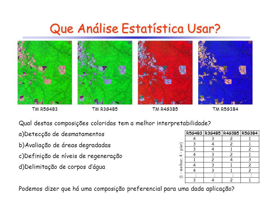 Que Análise Estatística Usar? TM R5G4B3TM R3G4B5TM R4G3B5TM R5G3B4 Qual destas composições coloridas tem a melhor interpretabilidade? a)Detecção de de