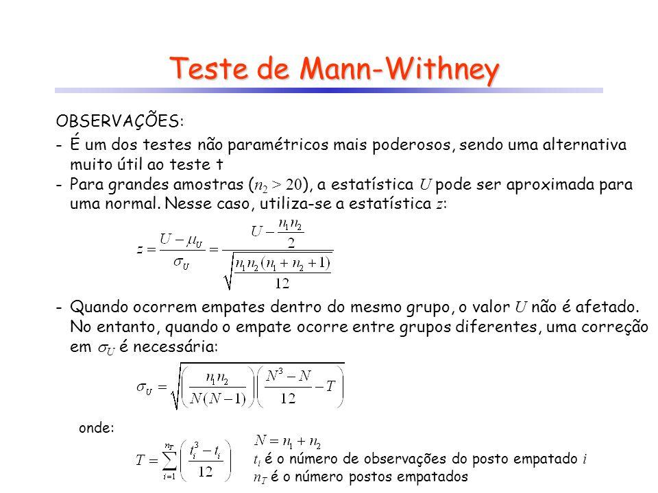 Teste de Mann-Withney OBSERVAÇÕES: -É um dos testes não paramétricos mais poderosos, sendo uma alternativa muito útil ao teste t -Para grandes amostra