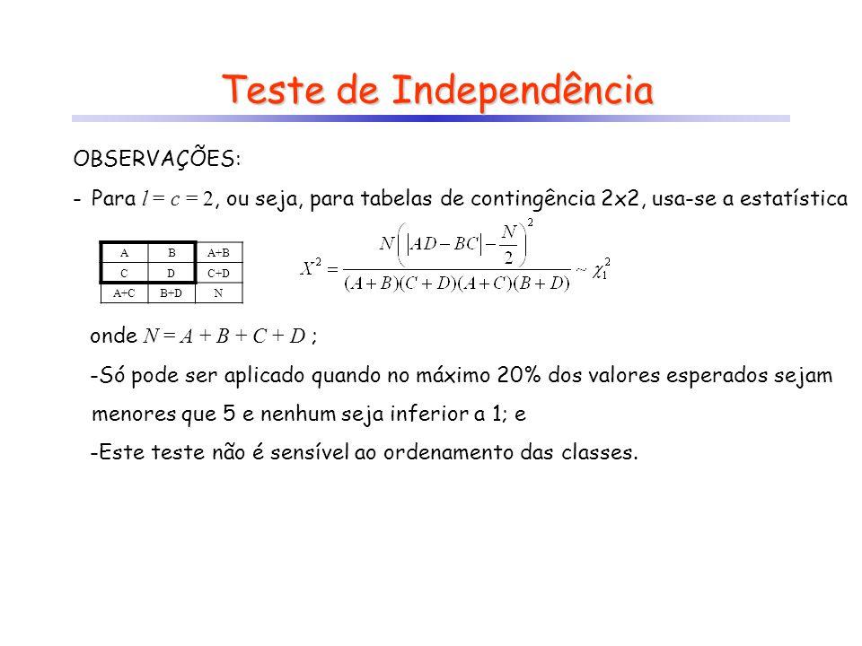 onde N = A + B + C + D ; -Só pode ser aplicado quando no máximo 20% dos valores esperados sejam menores que 5 e nenhum seja inferior a 1; e -Este test