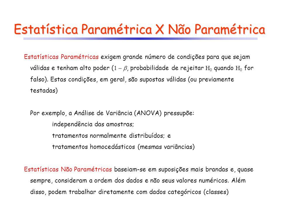 Estatística Paramétrica X Não Paramétrica Estatísticas Paramétricas exigem grande número de condições para que sejam válidas e tenham alto poder ( 1 –
