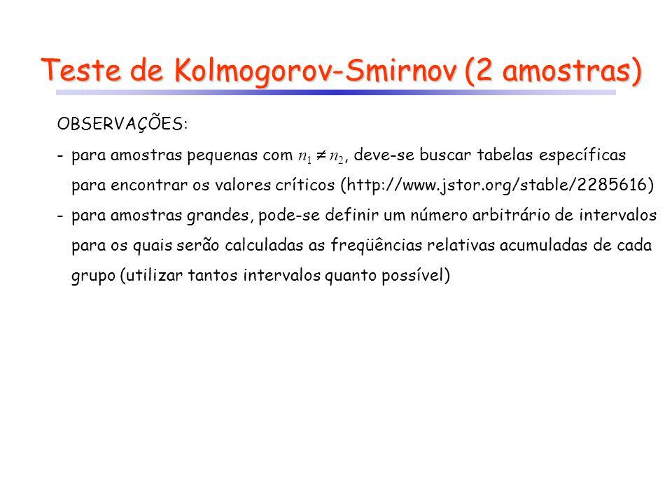 Teste de Kolmogorov-Smirnov (2 amostras) OBSERVAÇÕES: -para amostras pequenas com n 1 n 2, deve-se buscar tabelas específicas para encontrar os valore