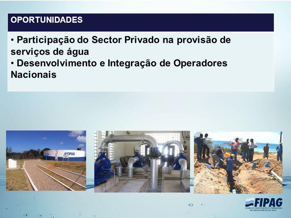 OPORTUNIDADES Participação do Sector Privado na provisão de serviços de água Desenvolvimento e Integração de Operadores Nacionais