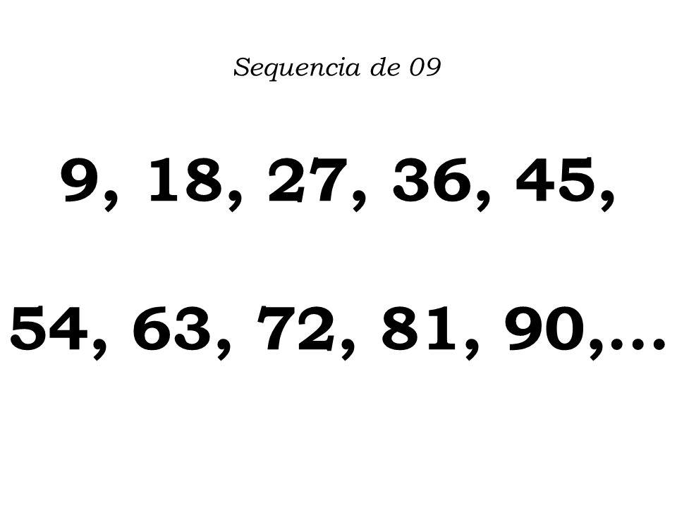 Sequencia de 09 9, 18, 27, 36, 45, 54, 63, 72, 81, 90,...