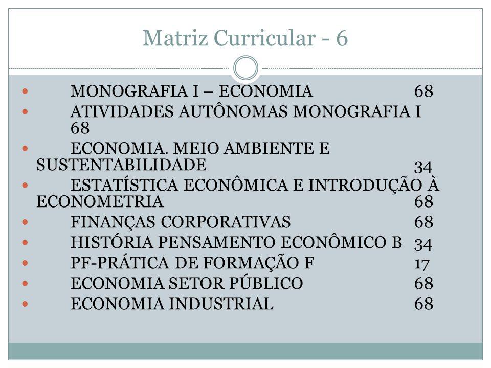 Matriz Curricular - 6 MONOGRAFIA I – ECONOMIA68 ATIVIDADES AUTÔNOMAS MONOGRAFIA I 68 ECONOMIA. MEIO AMBIENTE E SUSTENTABILIDADE34 ESTATÍSTICA ECONÔMIC