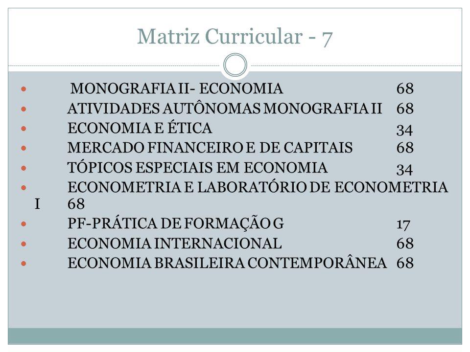 Matriz Curricular - 7 MONOGRAFIA II- ECONOMIA68 ATIVIDADES AUTÔNOMAS MONOGRAFIA II68 ECONOMIA E ÉTICA34 MERCADO FINANCEIRO E DE CAPITAIS68 TÓPICOS ESP