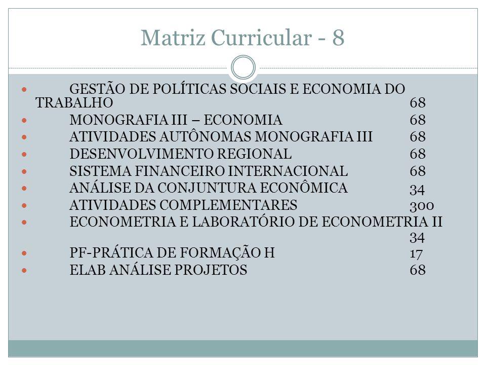 Matriz Curricular - 8 GESTÃO DE POLÍTICAS SOCIAIS E ECONOMIA DO TRABALHO68 MONOGRAFIA III – ECONOMIA68 ATIVIDADES AUTÔNOMAS MONOGRAFIA III68 DESENVOLV