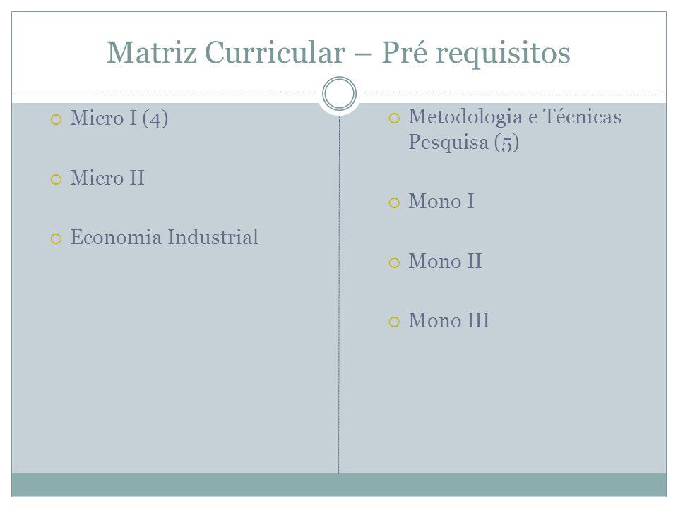 Matriz Curricular – Pré requisitos Micro I (4) Micro II Economia Industrial Metodologia e Técnicas Pesquisa (5) Mono I Mono II Mono III