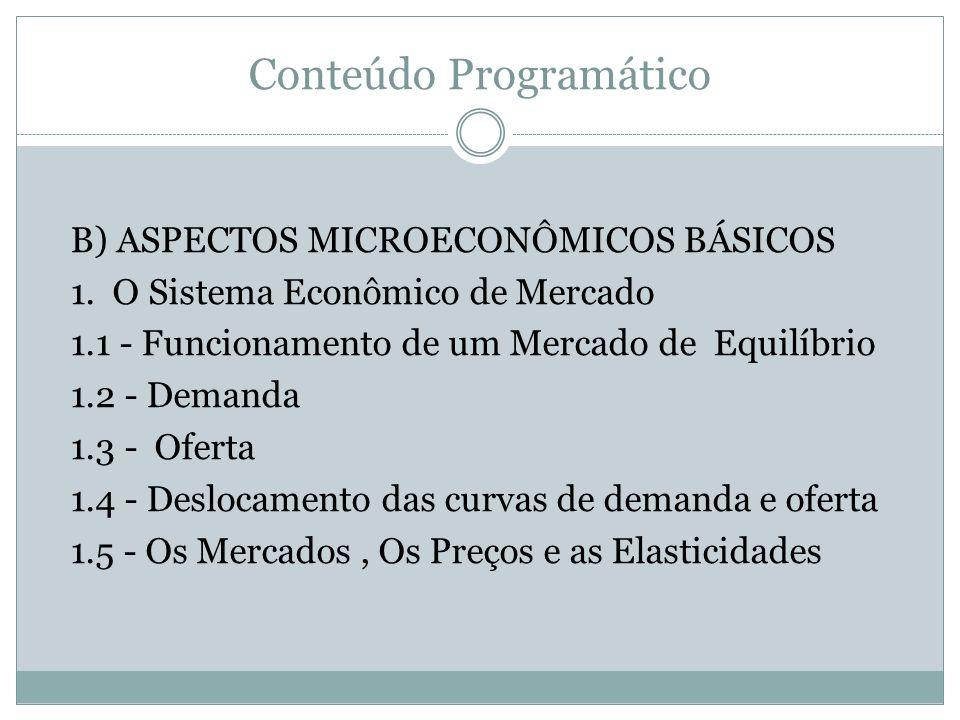 Conteúdo Programático B) ASPECTOS MICROECONÔMICOS BÁSICOS 1. O Sistema Econômico de Mercado 1.1 - Funcionamento de um Mercado de Equilíbrio 1.2 - Dema