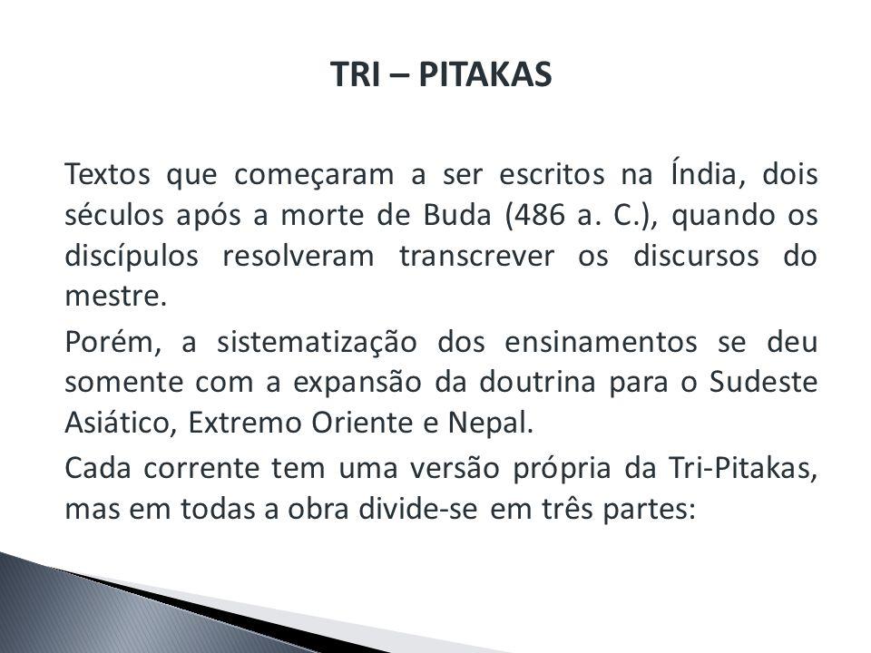 TRI – PITAKAS Textos que começaram a ser escritos na Índia, dois séculos após a morte de Buda (486 a. C.), quando os discípulos resolveram transcrever
