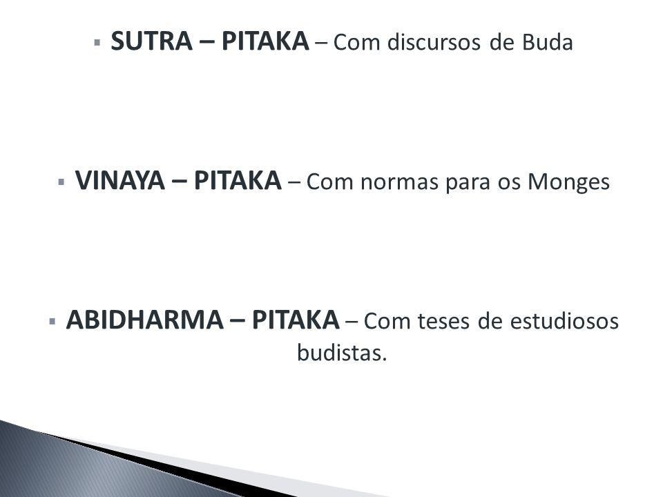 SUTRA – PITAKA – Com discursos de Buda VINAYA – PITAKA – Com normas para os Monges ABIDHARMA – PITAKA – Com teses de estudiosos budistas.