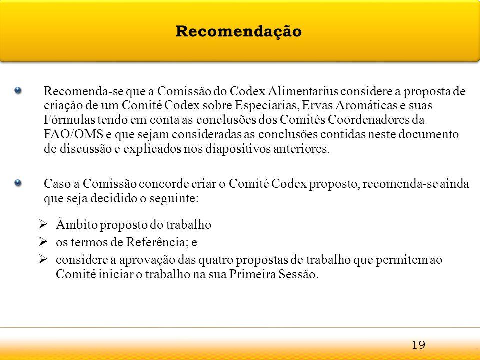 Guntur Recomenda-se que a Comissão do Codex Alimentarius considere a proposta de criação de um Comité Codex sobre Especiarias, Ervas Aromáticas e suas
