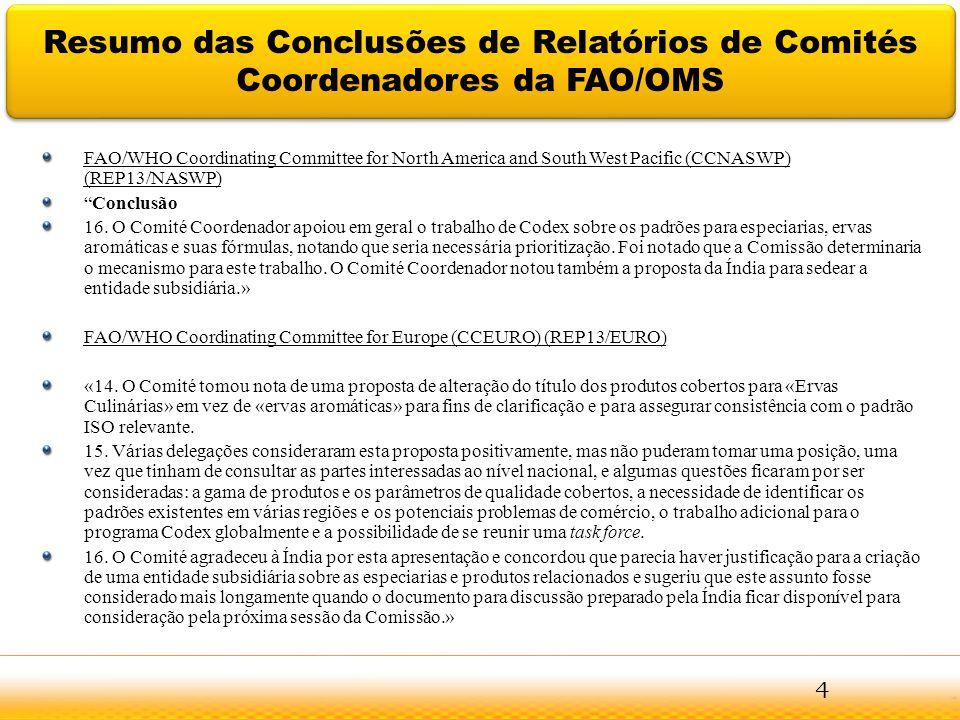Jodhpur Resumo das Conclusões de Relatórios de Comités Coordenadores da FAO/OMS FAO/WHO Coordinating Committee for North America and South West Pacifi