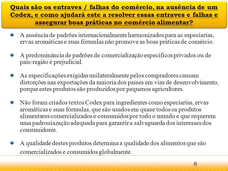 Guntur Recomenda-se que a Comissão do Codex Alimentarius considere a proposta de criação de um Comité Codex sobre Especiarias, Ervas Aromáticas e suas Fórmulas tendo em conta as conclusões dos Comités Coordenadores da FAO/OMS e que sejam consideradas as conclusões contidas neste documento de discussão e explicados nos diapositivos anteriores.