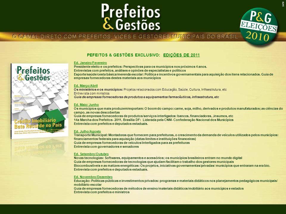 PEFEITOS & GESTÕES EXCLUSIVO: EDIÇÕES DE 2011 Ed.