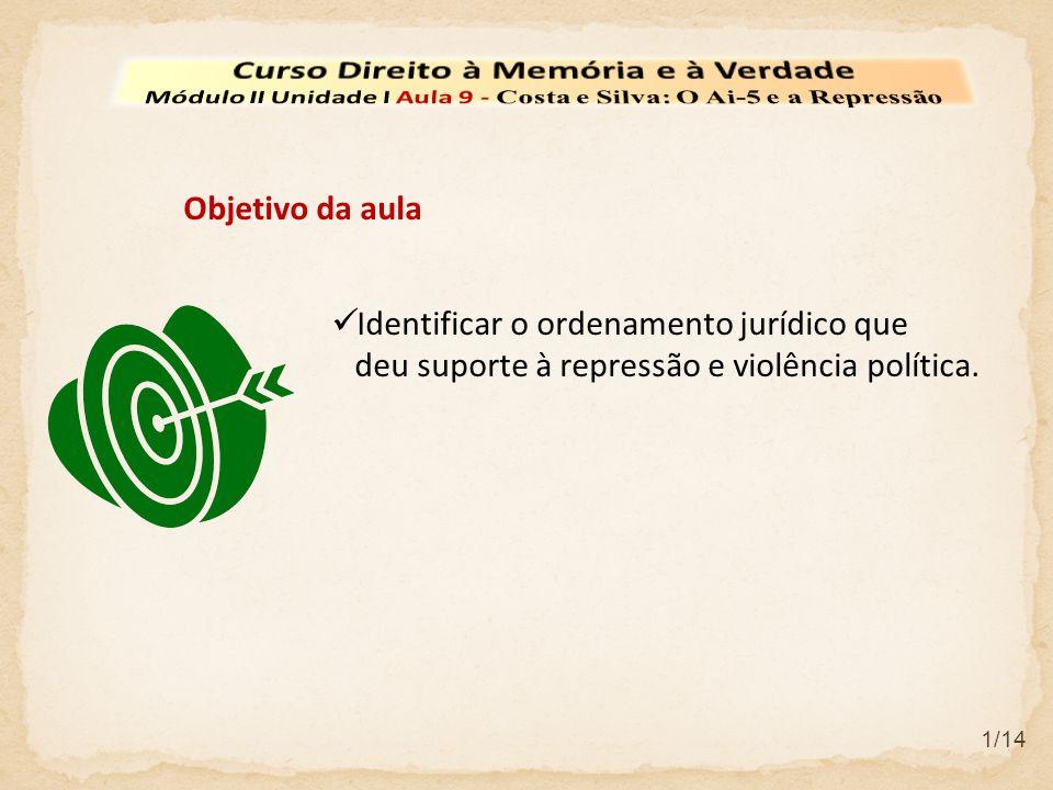 Identificar o ordenamento jurídico que deu suporte à repressão e violência política. Objetivo da aula 1/14