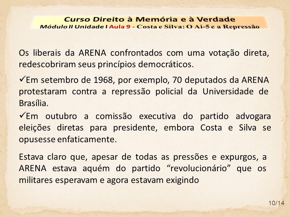 10/14 Os liberais da ARENA confrontados com uma votação direta, redescobriram seus princípios democráticos. Em setembro de 1968, por exemplo, 70 deput