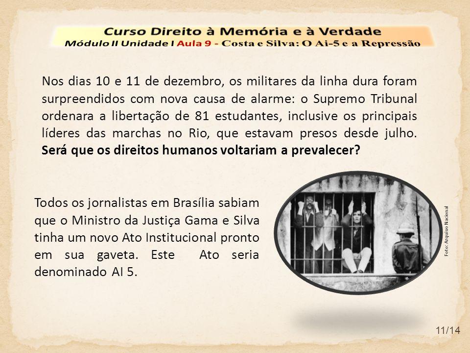 11/14 Todos os jornalistas em Brasília sabiam que o Ministro da Justiça Gama e Silva tinha um novo Ato Institucional pronto em sua gaveta. Este Ato se