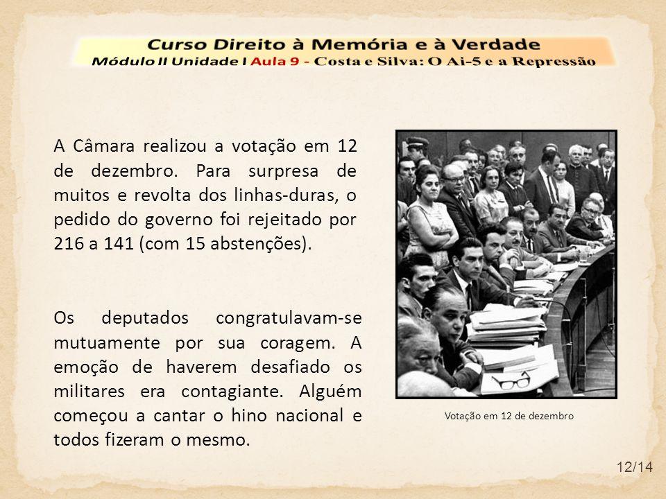 12/14 A Câmara realizou a votação em 12 de dezembro. Para surpresa de muitos e revolta dos linhas-duras, o pedido do governo foi rejeitado por 216 a 1