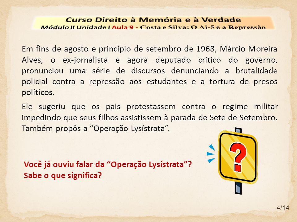 5/14 Com a Operação Lysístrata o deputado chamava as mulheres brasileiras no sentido de boicotarem seus maridos até que o governo suspendesse a repressão.