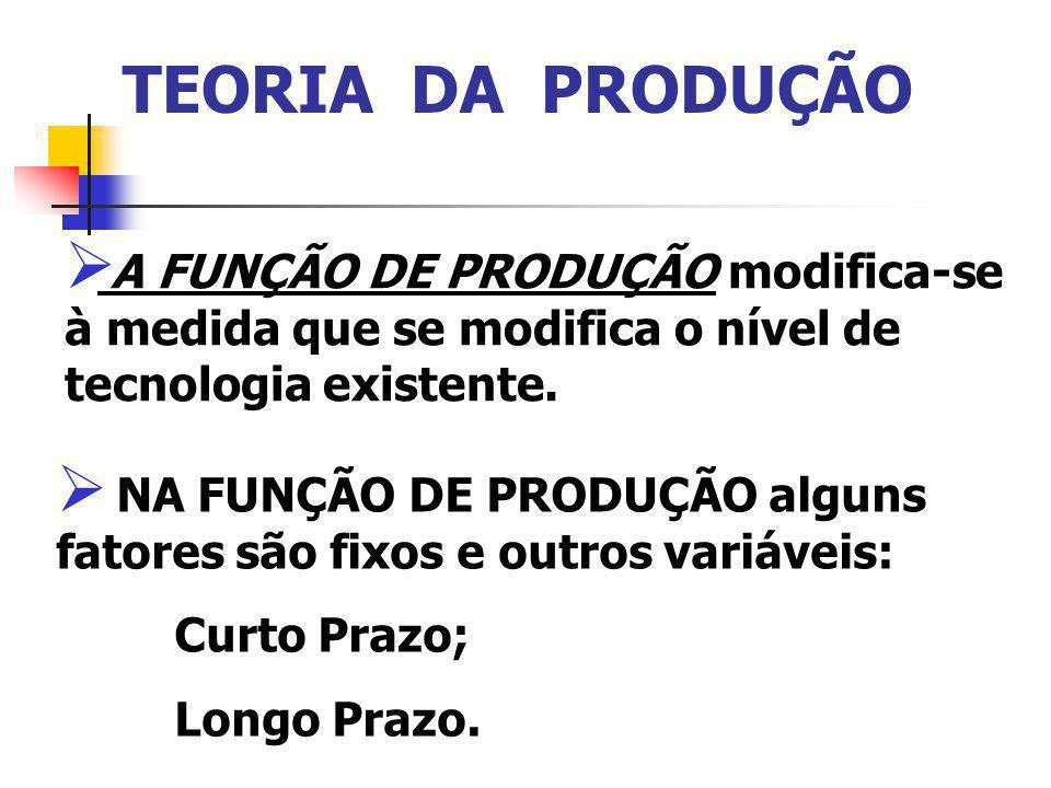 TEORIA DA PRODUÇÃO A FUNÇÃO DE PRODUÇÃO modifica-se à medida que se modifica o nível de tecnologia existente.