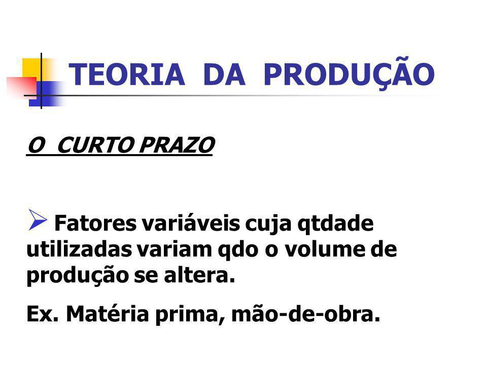 TEORIA DA PRODUÇÃO O CURTO PRAZO Fatores variáveis cuja qtdade utilizadas variam qdo o volume de produção se altera. Ex. Matéria prima, mão-de-obra.