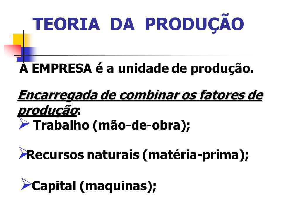 A EMPRESA é a unidade de produção. Encarregada de combinar os fatores de produção Encarregada de combinar os fatores de produção: Trabalho (mão-de-obr