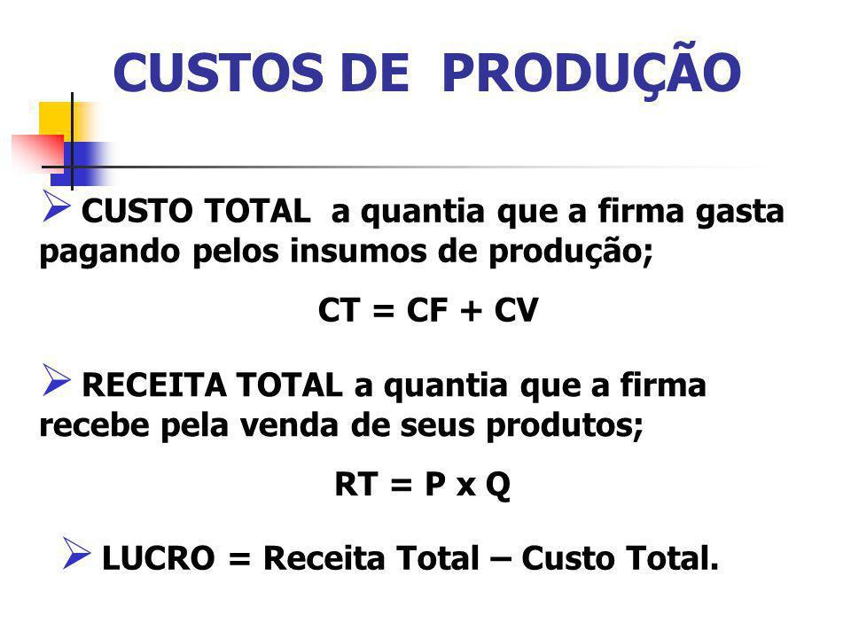 CUSTOS DE PRODUÇÃO CUSTO TOTAL a quantia que a firma gasta pagando pelos insumos de produção; CT = CF + CV RECEITA TOTAL a quantia que a firma recebe pela venda de seus produtos; RT = P x Q LUCRO = Receita Total – Custo Total.