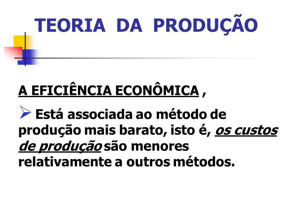 TEORIA DA PRODUÇÃO A EFICIÊNCIA ECONÔMICA, Está associada ao método de produção mais barato, isto é, os custos de produção são menores relativamente a