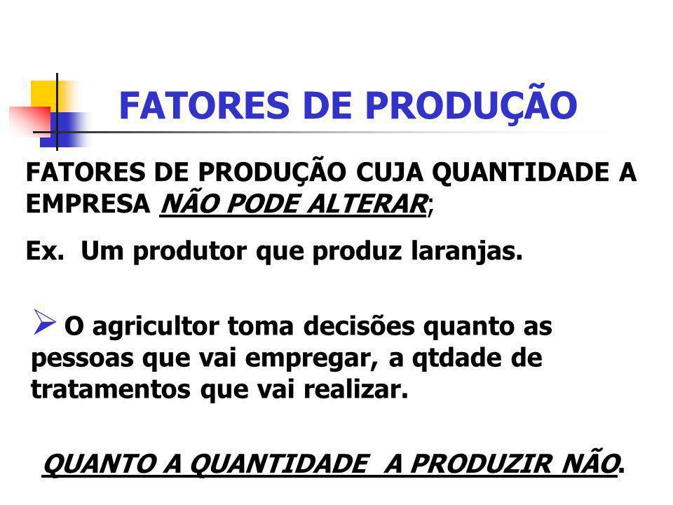 FATORES DE PRODUÇÃO FATORES DE PRODUÇÃO CUJA QUANTIDADE A EMPRESA NÃO PODE ALTERAR; Ex. Um produtor que produz laranjas. O agricultor toma decisões qu
