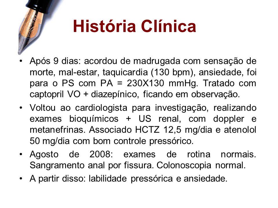 História Clínica LAV, 45 anos, masculino, branco, casado, médico, natural de Cândido Mota e procedente de Sorocaba. Episódios de crise hipertensiva há