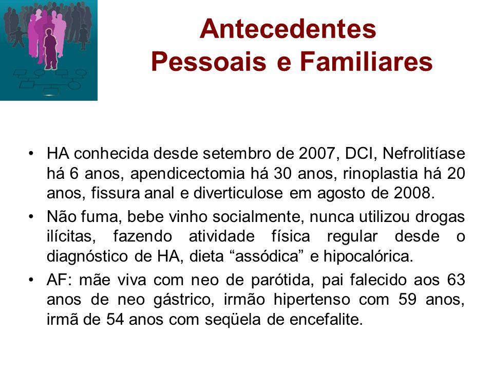 História Clínica Outubro de 2008: crises de angústia, sudorese nucal e perilabial intensa, mal-estar, sensação de taquicardia, insônia, cefaléia pouco