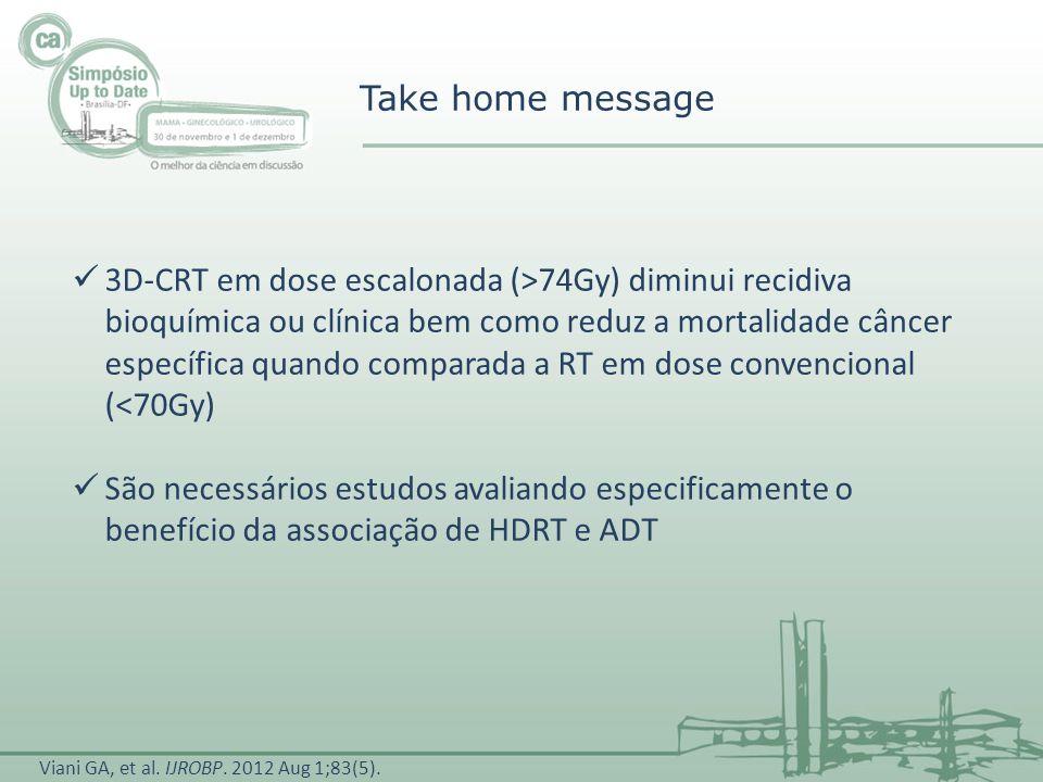 Take home message 3D-CRT em dose escalonada (>74Gy) diminui recidiva bioquímica ou clínica bem como reduz a mortalidade câncer específica quando compa