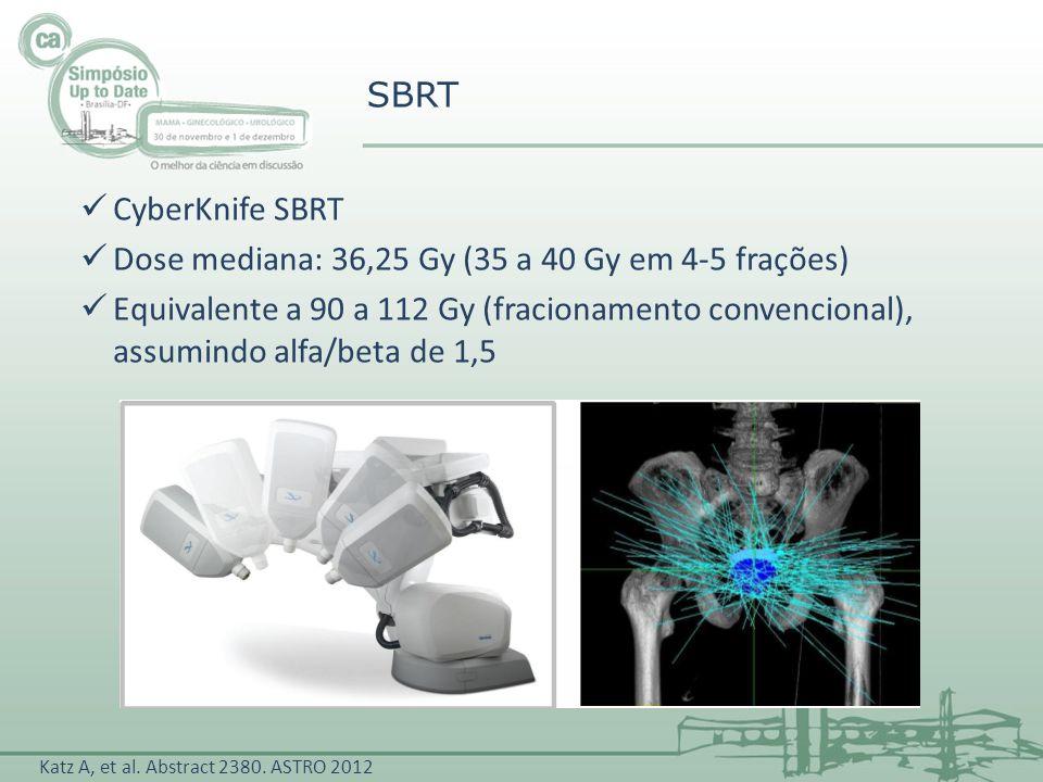 CyberKnife SBRT Dose mediana: 36,25 Gy (35 a 40 Gy em 4-5 frações) Equivalente a 90 a 112 Gy (fracionamento convencional), assumindo alfa/beta de 1,5