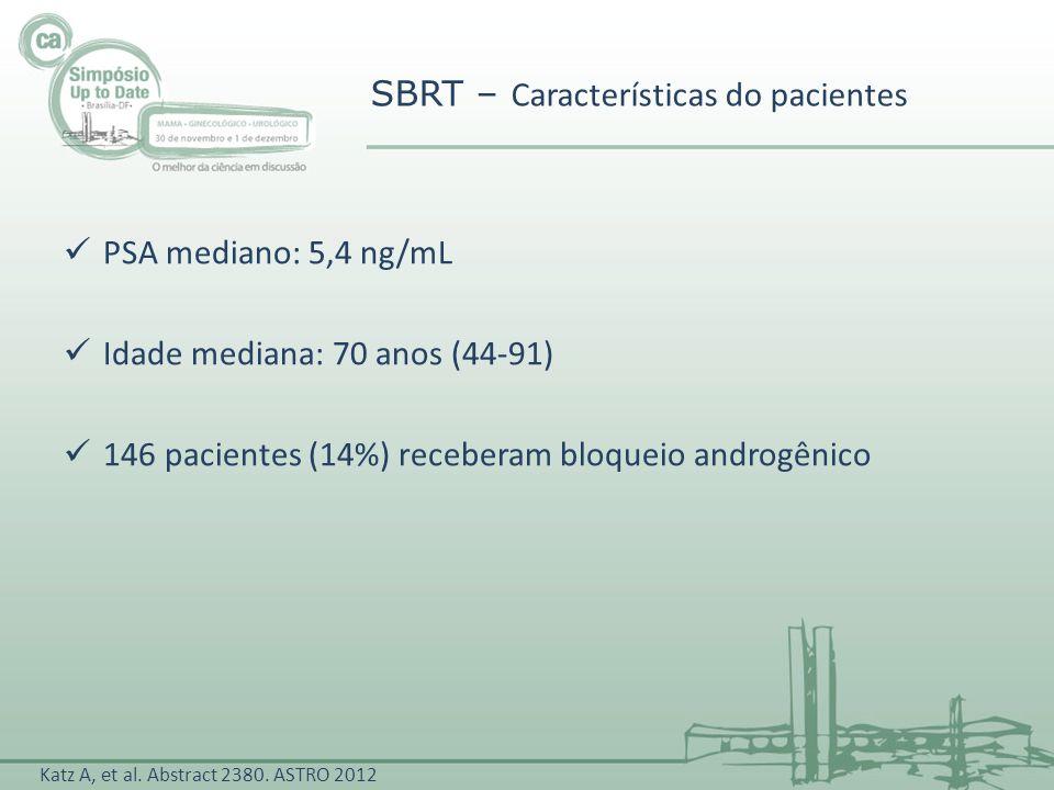 PSA mediano: 5,4 ng/mL Idade mediana: 70 anos (44-91) 146 pacientes (14%) receberam bloqueio androgênico SBRT – Características do pacientes Katz A, e
