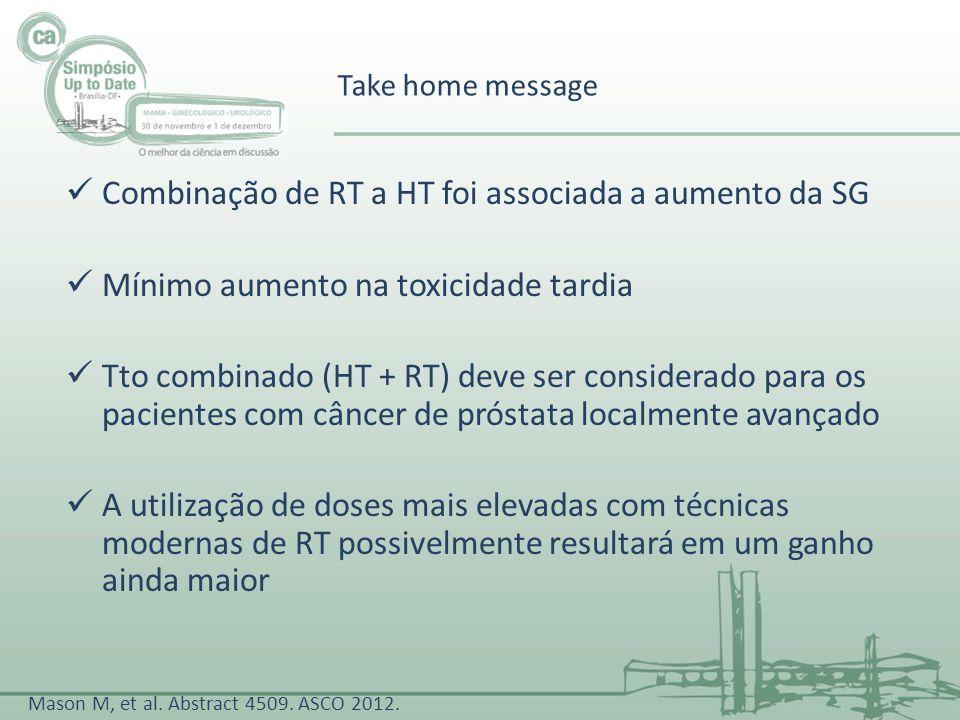 Take home message Combinação de RT a HT foi associada a aumento da SG Mínimo aumento na toxicidade tardia Tto combinado (HT + RT) deve ser considerado