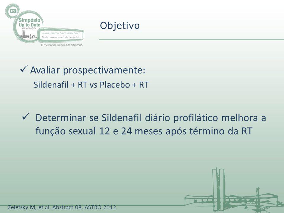 Avaliar prospectivamente: Sildenafil + RT vs Placebo + RT Determinar se Sildenafil diário profilático melhora a função sexual 12 e 24 meses após térmi