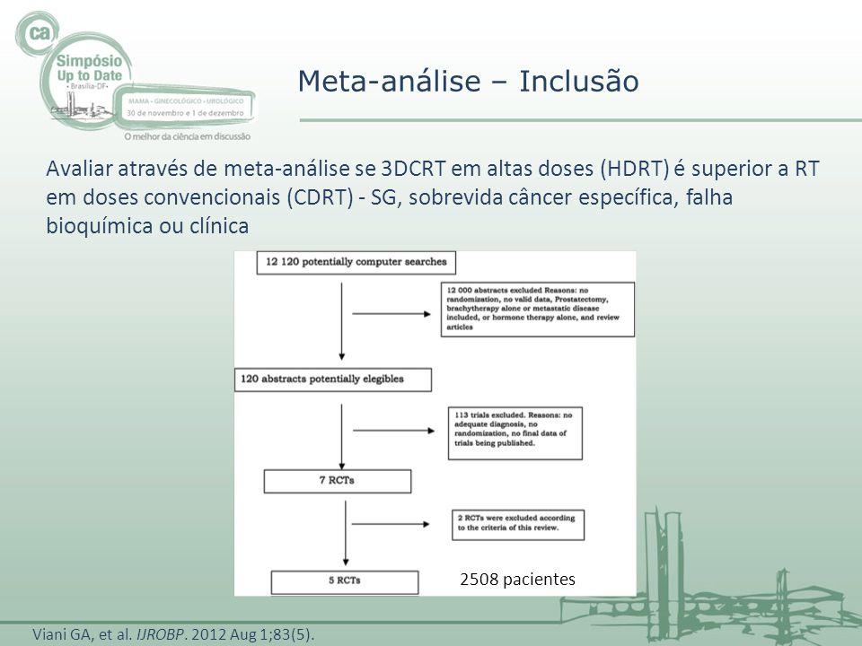 ADT 1508 pacientes 46,7% HDRT vs 59,6% CDRT AAR: 12,9% NNT: 7,7 s/ ADT 1000 pacientes 25,4% vs 39% AAR: 13,6% NNT: 7 Meta-análise - Resultados Falha bioquímica ou clínica em 5 anos, segundo utilização de bloqueio androgênico Viani GA, et al.