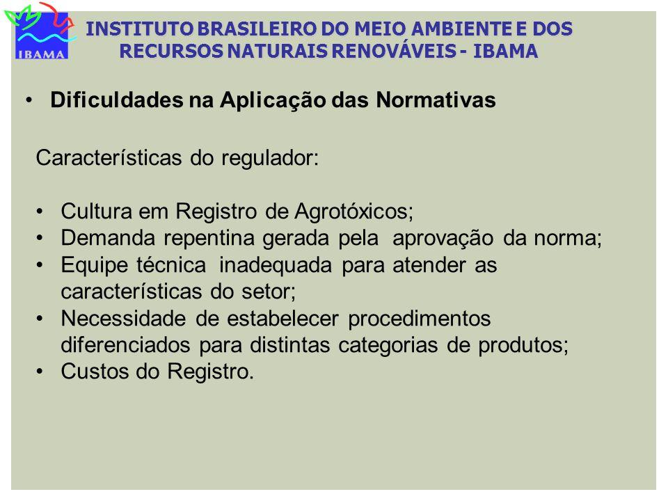 INSTITUTO BRASILEIRO DO MEIO AMBIENTE E DOS RECURSOS NATURAIS RENOVÁVEIS - IBAMA Dificuldades na Aplicação das Normativas Características do regulador