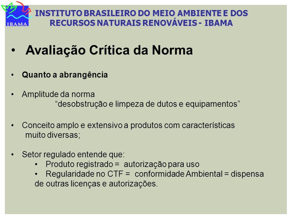 INSTITUTO BRASILEIRO DO MEIO AMBIENTE E DOS RECURSOS NATURAIS RENOVÁVEIS - IBAMA Quanto a abrangência Amplitude da norma desobstrução e limpeza de dut
